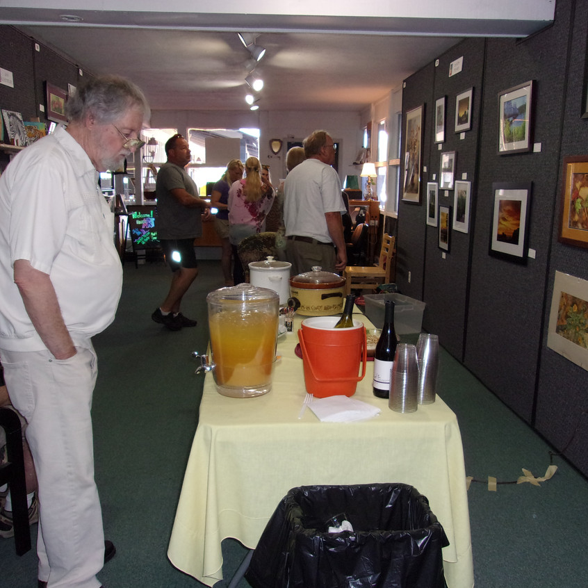 Michael Phares checks out the refreshments!