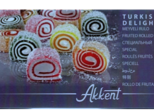 Akkent Turkish Delight Fruited & Rolled 400g