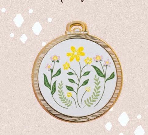 Enamel Pin- Botanical Hoop