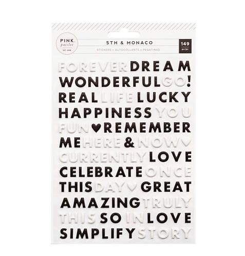 5th & Monaco Puffy Word Stickers