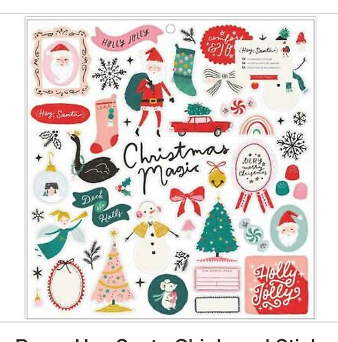 Chipboard Stickers Hey Santa- Crate Paper