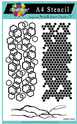Honey hive A4 stencil-Colourblast
