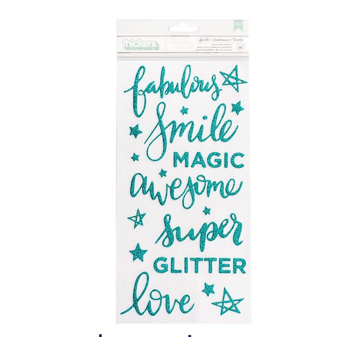 Sparkle  Phrase Thickers~foam teal glitter