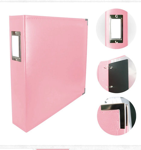 12x12 Classic leather D-Ring-Baby Pink