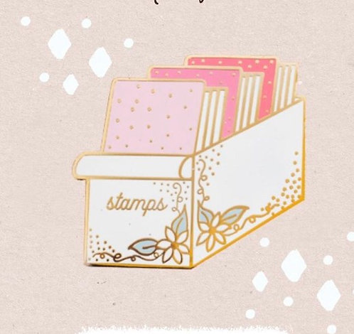 Enamel Pin- Floral Stamp Holder