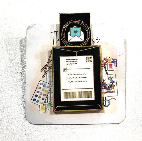 Enamel Pin- Happy Mail Parcel-black