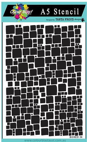 Boxed in A5 stencil-Colourblast