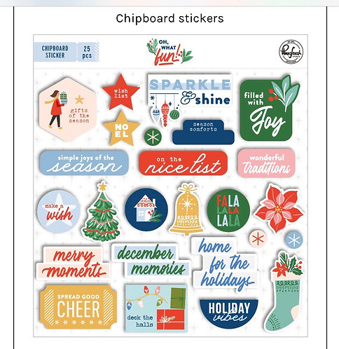 Oh what Fun Chipboard stickers