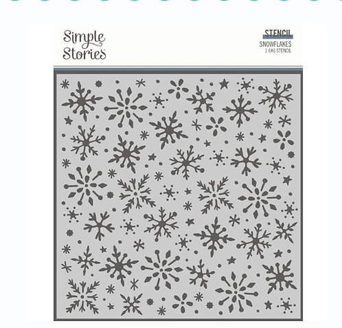 Simple Stories Winter Cottage Stencil 6in X 6in - Snowflakes