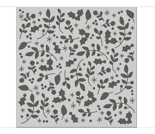Mistletoe and Holly 6x6 Stencil