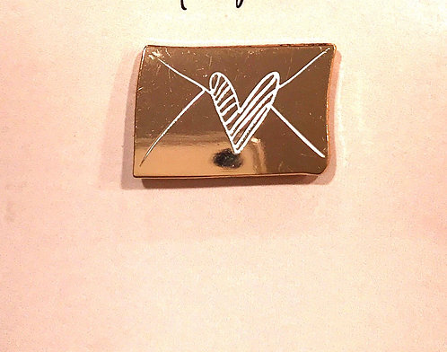 Enamel Pin- Rose Gold Envelope with Heart