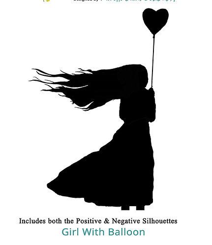 Girl with ballon A4 stencil