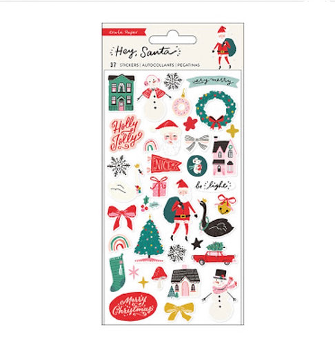 Puffy Stickers Hey Santa- Crate Paper