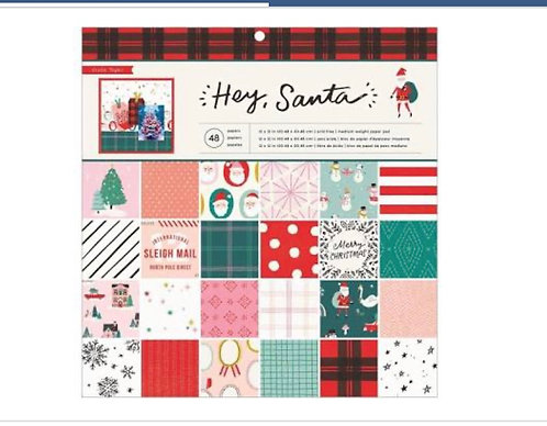 12x12 Paper Pad Hey Santa- Crate Paper