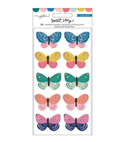 Sweet Story layered butterfly stickers