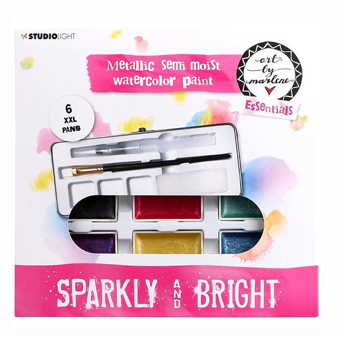 Studio Light Art By Marlene Watercolour Painting Set 6 Pack - Metallic With Tray