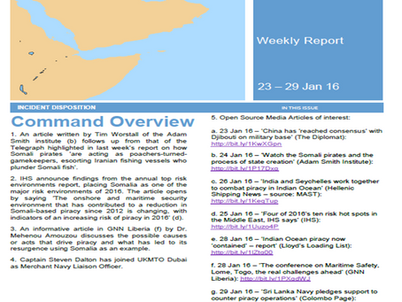 UKMTO's Weekly Piracy Report for 23 – 29 Jan 16