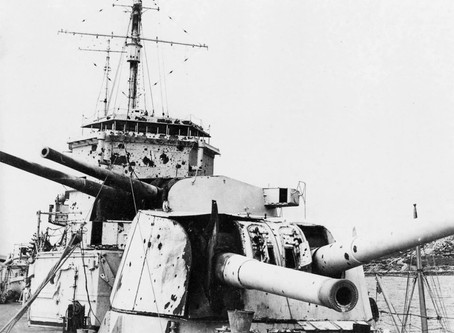 Battle of the River Plate 13th December 1939 - Royal Marines HMS Exeter B Turret  - HMS Ajax X Turre