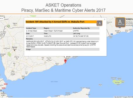 UKMTO MV Attacked by 4 Armed Skiffs nr Mukulla Port #piracy #marsec @IMB_Piracy @IMOHQ #ukmto #shipp