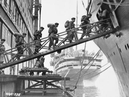 Below decks on a troopship under torpedo attack