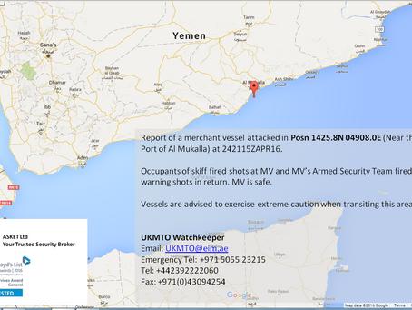 UKMTO Warning - Vessel Shot at near Al Mukalla