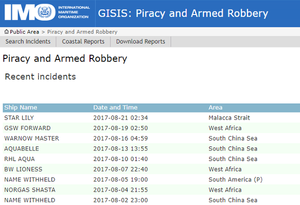 IMO GISIS Weekly Piracy - ASKET