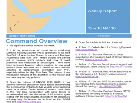 UKMTO Weekly Piracy Report 12 - 18th March 16