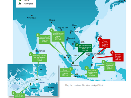 ReCAAP - Incidents of Piracy & Armed Robbery Against Ships - April 2016