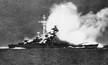 ismarck firing at HMS Prince of Wales shortly after sinking HMS Hood in the Denmark Strait