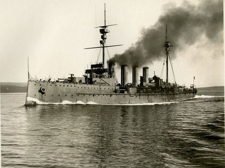 HMS NATAL Sunk by Internal Explosion - 63 Royal Marines Lost