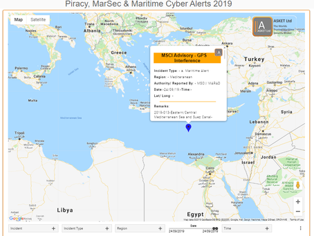 MSCI Advisory - 2019-013-Eastern/Central Mediterranean Sea and Suez Canal-GPS Interference #marsec #
