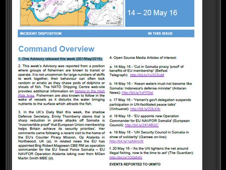 UKMTO Weekly Piracy Report 14 - 20 May 16