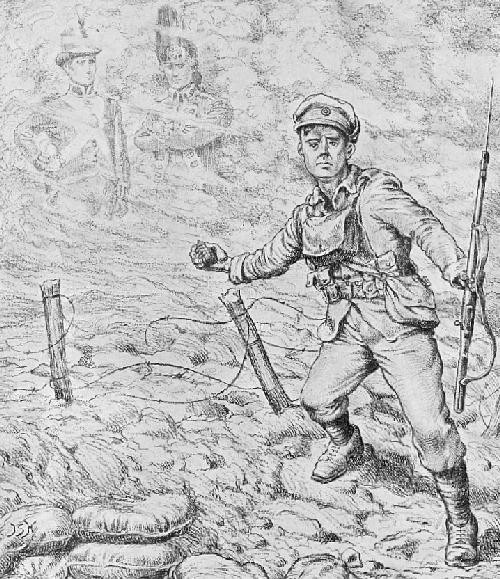 """First Onlooker: """"Bunker's Hill was child's play to this."""" Second Onlooker: """"So was Trafalgar, but the Old Corps is going forward, just the same."""" (Globe & Laurel, August 1917)"""