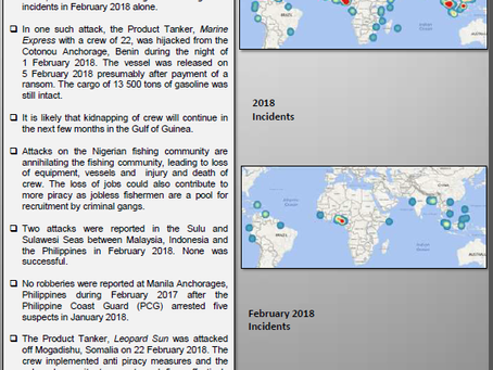Amahlo-Suritec's February 2018 Piracy Report @LydelleJ #piracy #maritime #security #marsec