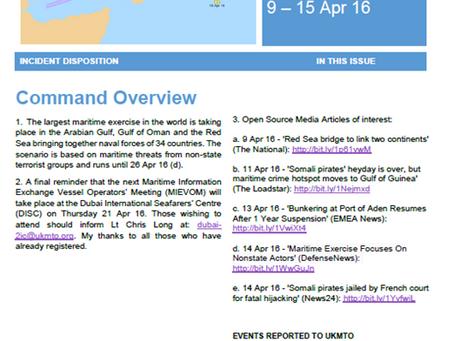 UKMTO Weekly Report 9 – 15 Apr 16