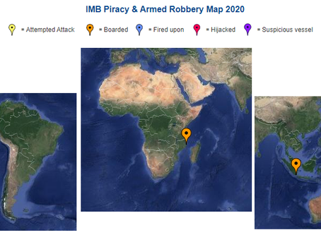 IMB ICC Live Piracy & Armed Robbery Report 2020 - Reported in Last 7 days #marsec #piracy @IMB_P
