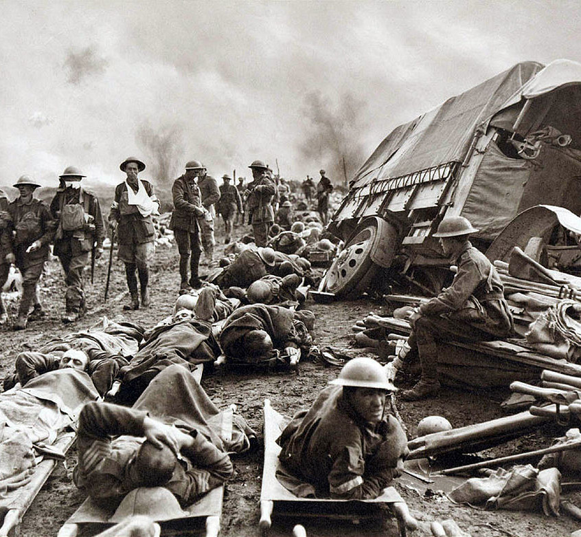 Ypes-Breakfast at Babs-Battle_of_Menin_Road_-_wounded_at_side_of_the_road