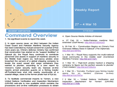 UKMTO Weekly Piracy Report 4 March 16