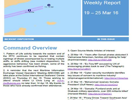 UKMTO Piracy Report 25 Mar 16