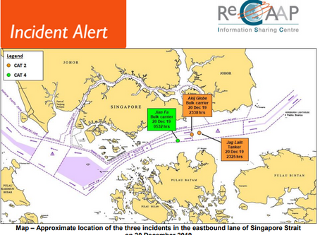 ReCAAP ISC Alert - Incidents involving ships while underway in the Singapore Strait #piracy #marsec