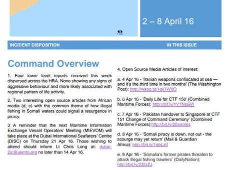 UKMTO Weekly Piracy Report