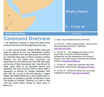 UKMTO Weekly Piracy Report 12 Feb 16
