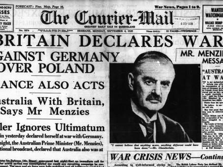 Neville Chamberlain announces war with Germany, 3 September 1939.
