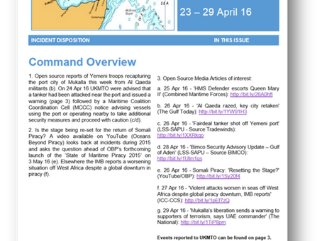UKMTO Weekly Report 23 – 29 Apr 16