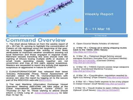 UKMTO Weekly Piracy Report 11 March 2016
