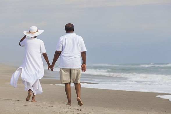 Couple Walking Beach Retired Holding Hands