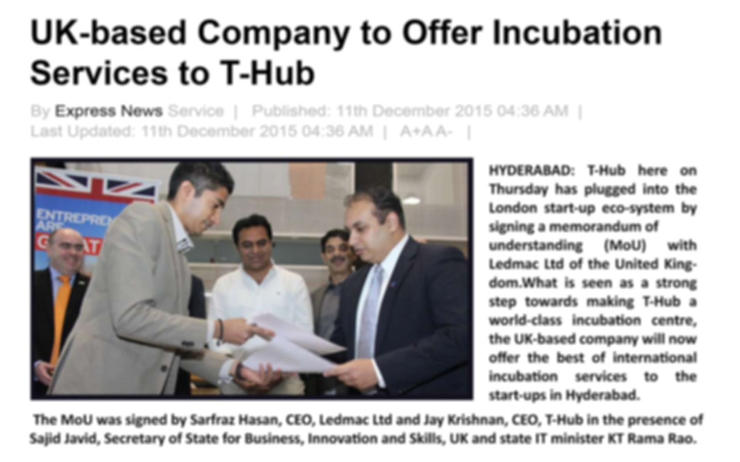 Supporting Incubators - MOU with T-Hub