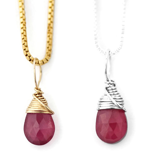 Ruby Birthstone Necklace