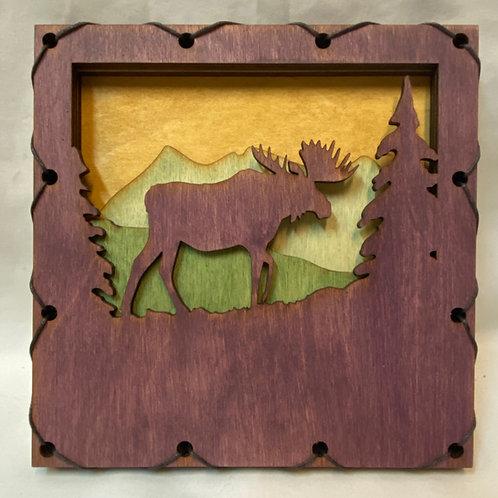 Layered woodcut art
