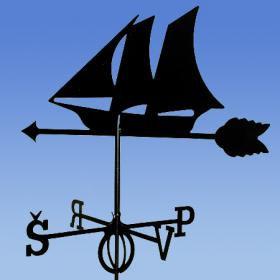 Флюгер на крышу GLORI ir Ko Корабль (черный и золотой)